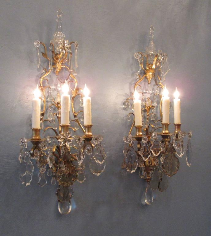 Pair of 19th Century French Louis XIV Tall Bronze Dore and Crystal Sconces For Sale 6