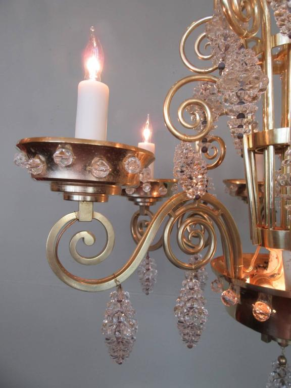 20th Century French Art Deco Bronze and Glass Chandelier by Glass Artist Sabino 4