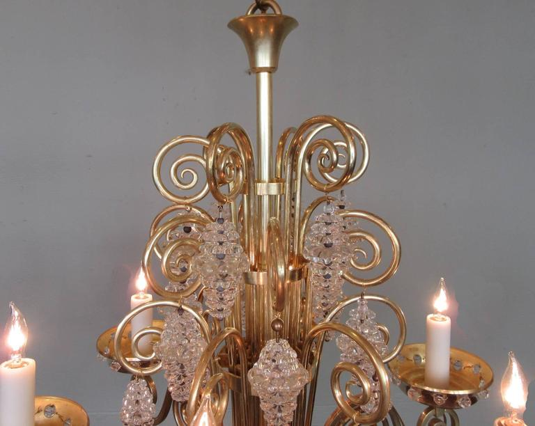 20th Century French Art Deco Bronze and Glass Chandelier by Glass Artist Sabino 3
