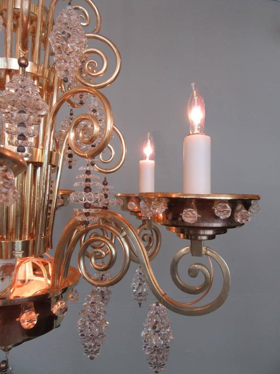 20th Century French Art Deco Bronze and Glass Chandelier by Glass Artist Sabino 5