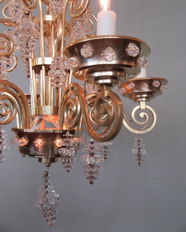 20th Century French Art Deco Bronze and Glass Chandelier by Glass Artist Sabino 6