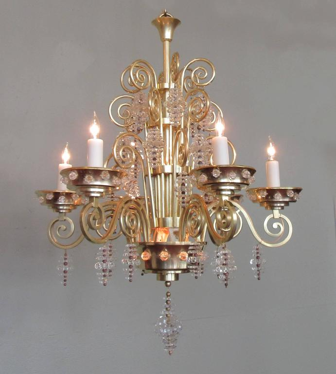 20th Century French Art Deco Bronze and Glass Chandelier by Glass Artist Sabino 8