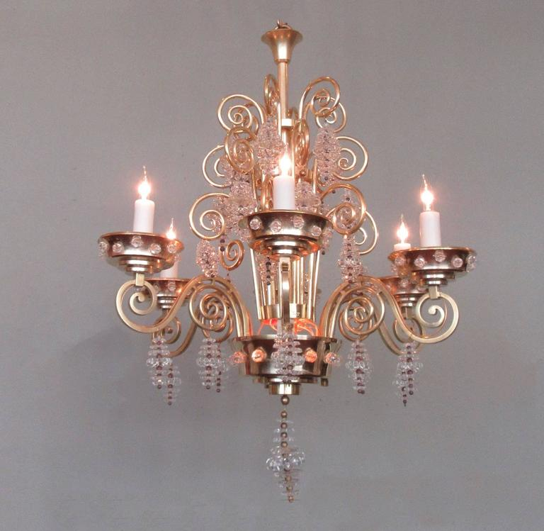 20th Century French Art Deco Bronze and Glass Chandelier by Glass Artist Sabino 2