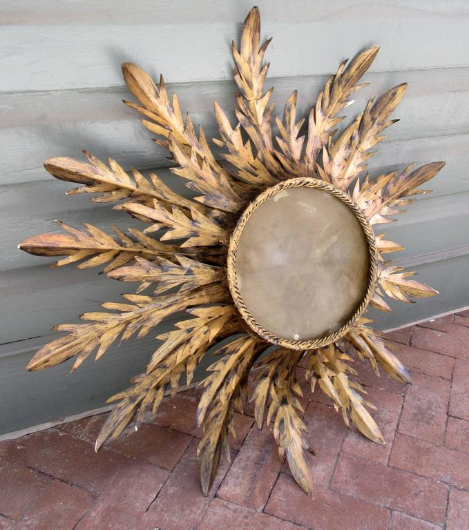 Organic Modern Early 20th Century Spanish Barcelona Gilt Tole Sunburst Flush Mount Fixture For Sale