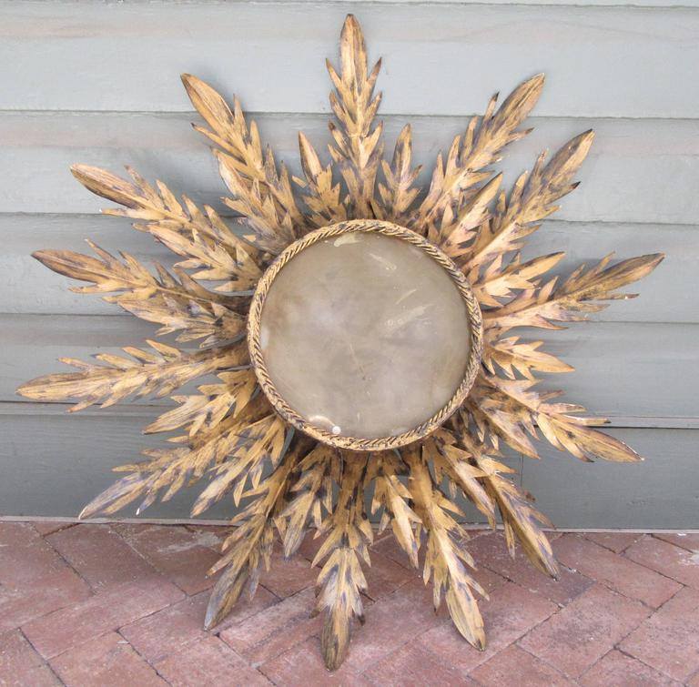 Early 20th Century Spanish Barcelona Gilt Tole Sunburst Flush Mount Fixture For Sale 1