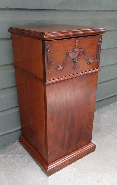 Early 19th Century English Regency Mahogany Pedestal Cabinet with Urn Carving For Sale 2