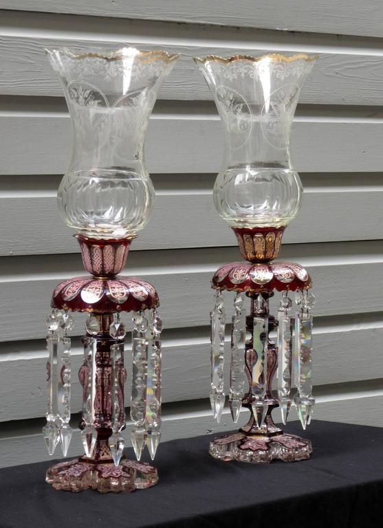 Pair Of Late 19th Century Baccarat Cranberry Crystal