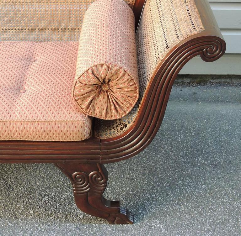 19th C Jamaican Regency Mahogany Hand Caned Sofa  For Sale 1