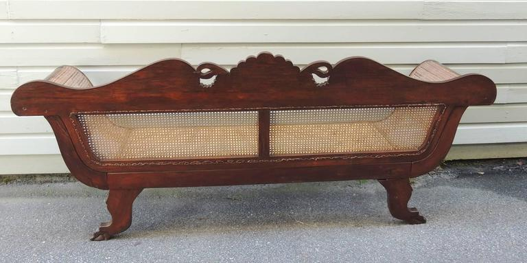 19th C Jamaican Regency Mahogany Hand Caned Sofa  For Sale 4