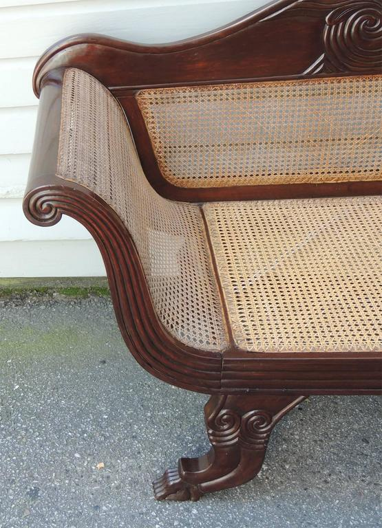 19th Century 19th C Jamaican Regency Mahogany Hand Caned Sofa  For Sale