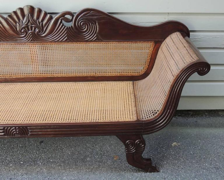19th C Jamaican Regency Mahogany Hand Caned Sofa  In Excellent Condition For Sale In Charleston, SC