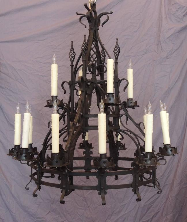 Late 19th c french gothic wrought iron chandelier for sale at 1stdibs this chandelier was made in france in the mid 19th century circa 1860 aloadofball Gallery