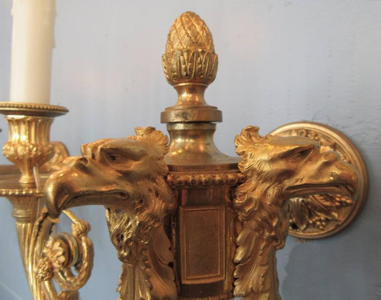Pair of 19th Century French Empire Bronze Dore Sconces with Exceptional Casting For Sale 1