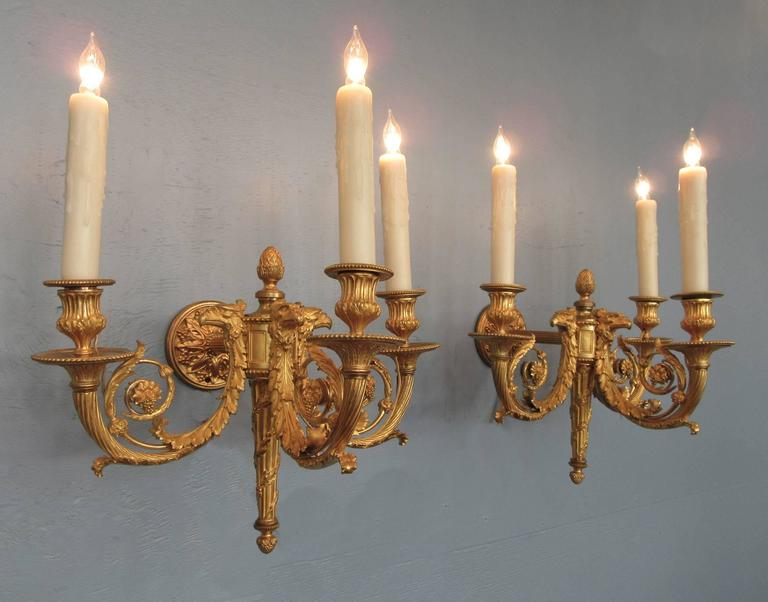 Pair of 19th Century French Empire Bronze Dore Sconces with Exceptional Casting For Sale 2