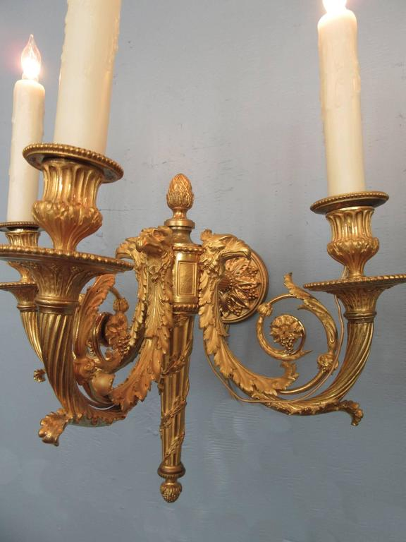 Pair of 19th Century French Empire Bronze Dore Sconces with Exceptional Casting For Sale 3