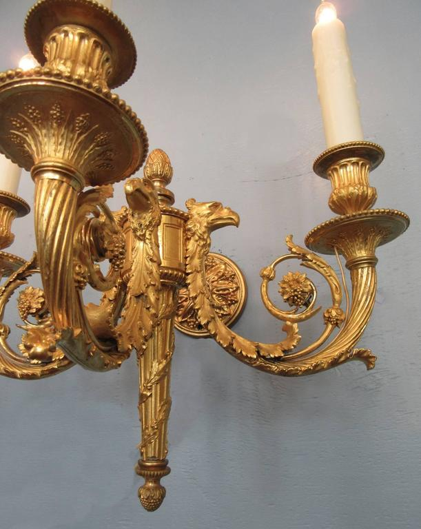Pair of 19th Century French Empire Bronze Dore Sconces with Exceptional Casting For Sale 5