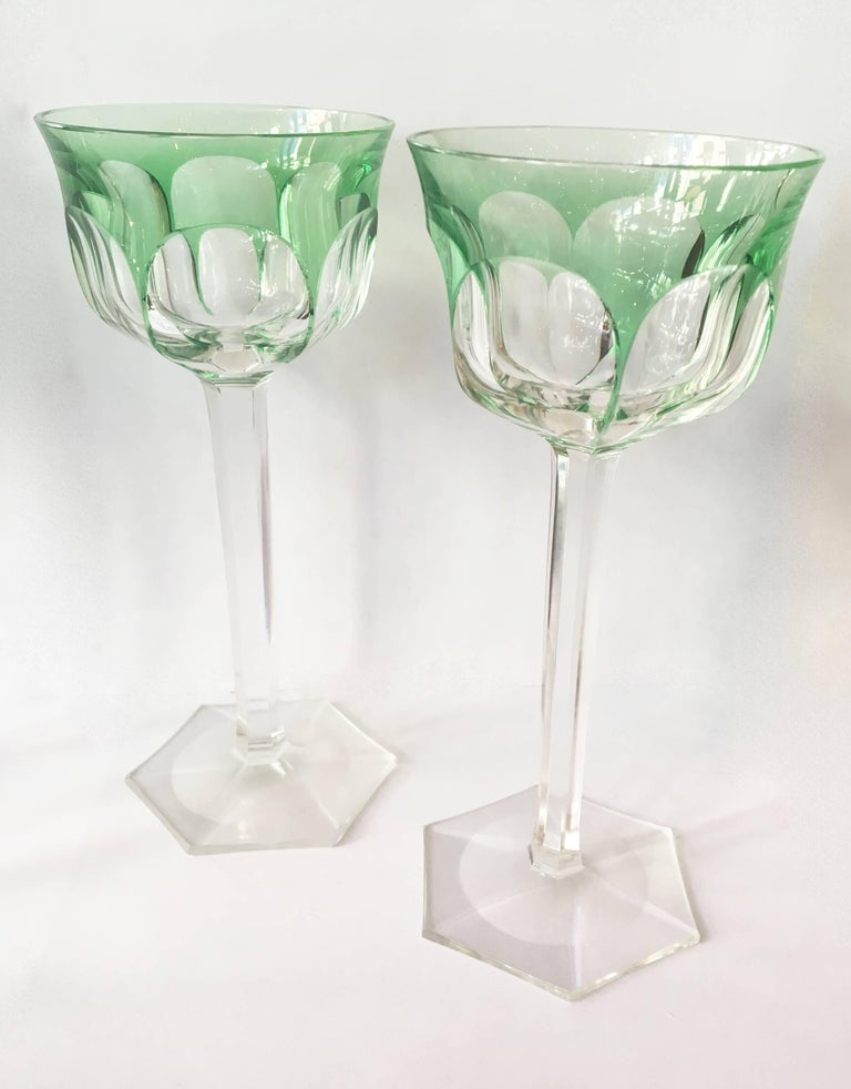 Belgian Set of Eight Osram Val Saint Lambert Green Wine Glasses For Sale