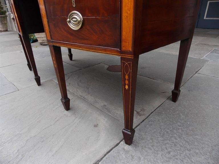 English Hepplewhite Mahogany Bow Front Inlaid Sideboard, Circa 1780 For Sale 2