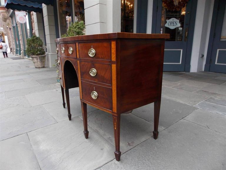 Late 18th Century English Hepplewhite Mahogany Bow Front Inlaid Sideboard, Circa 1780 For Sale