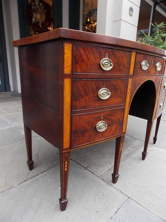 Cast English Hepplewhite Mahogany Bow Front Inlaid Sideboard, Circa 1780 For Sale