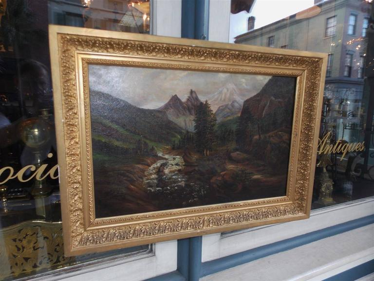 American Oil on Canvas of Landscape in Original Gilt Frame, Circa 1870 In Excellent Condition For Sale In Charleston, SC