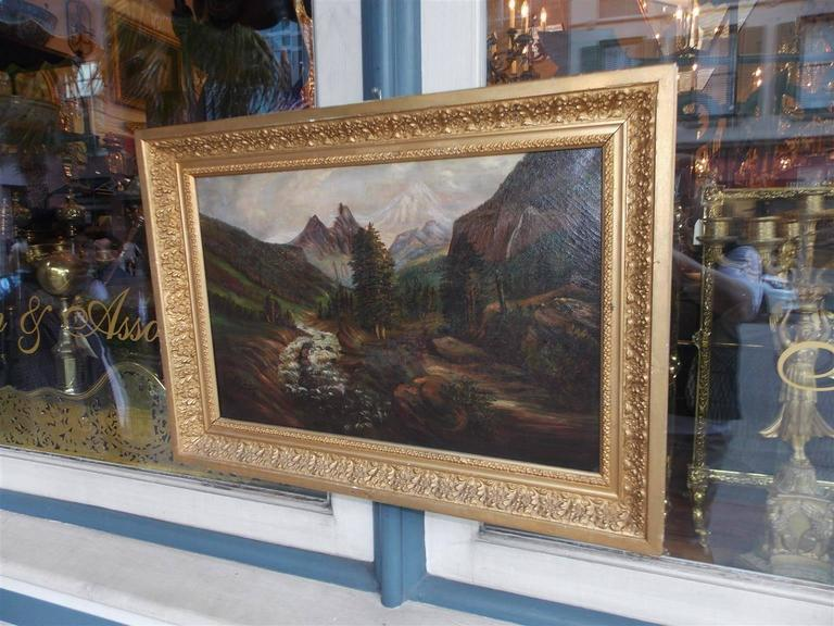 American Empire American Oil on Canvas of Landscape in Original Gilt Frame, Circa 1870 For Sale