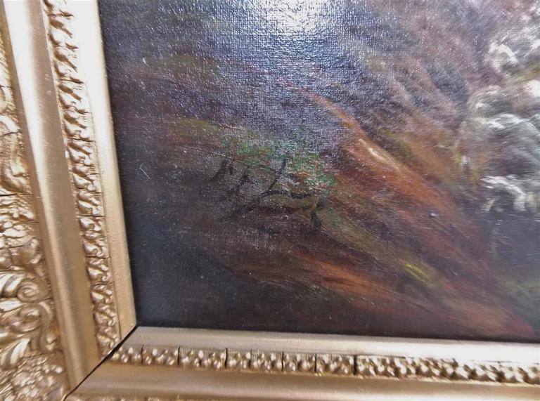 American Oil on Canvas of Landscape in Original Gilt Frame, Circa 1870 For Sale 1