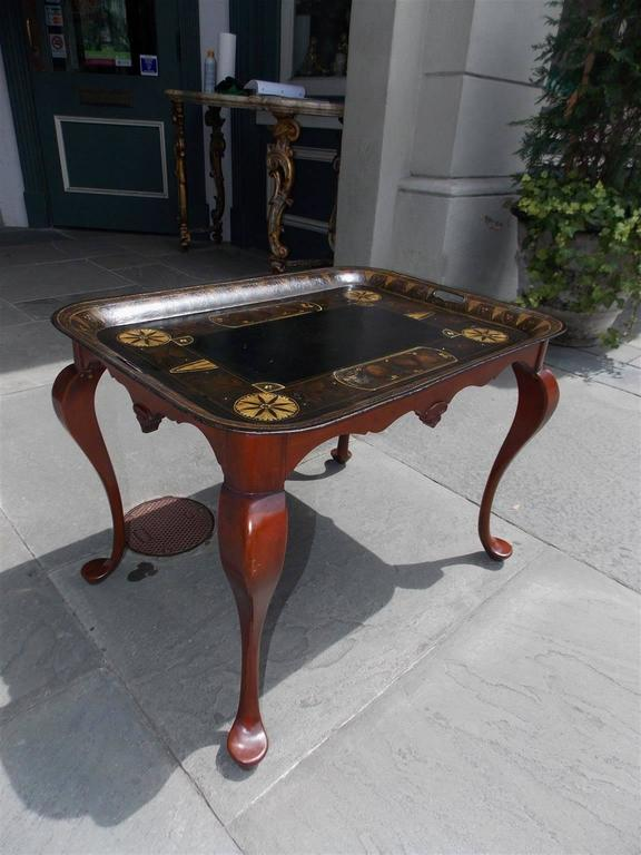 Hand-Carved American Tole and Mahogany Tray on Stand, Circa 1830 For Sale