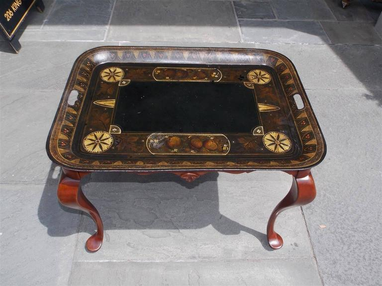 American Empire American Tole and Mahogany Tray on Stand, Circa 1830 For Sale
