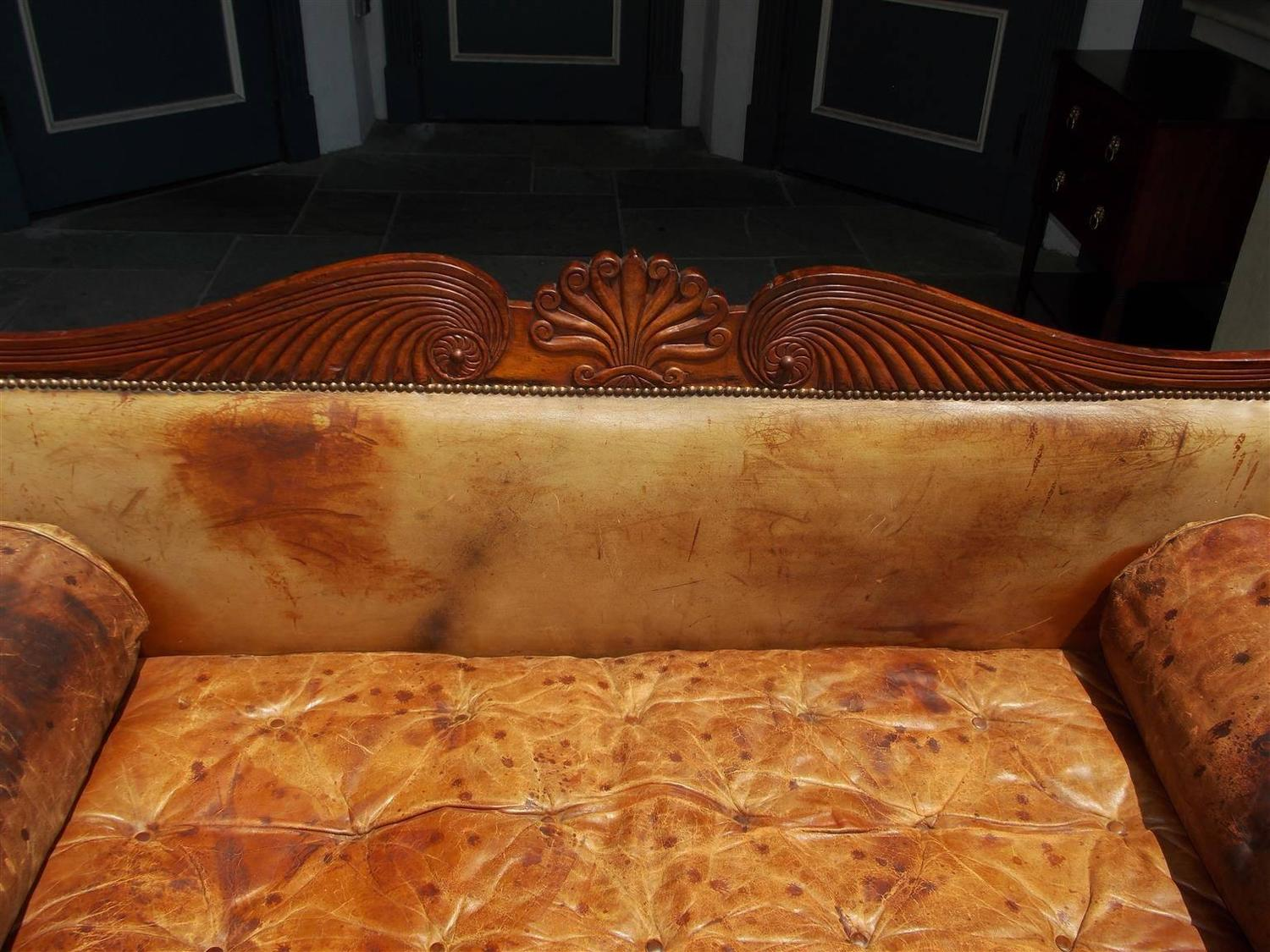 Caribbean regency mahogany floral carved leather sofa