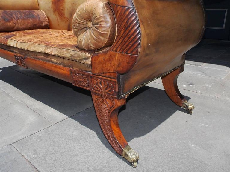 Brass Caribbean Regency Mahogany Floral Carved Leather Sofa, Circa 1810 For Sale