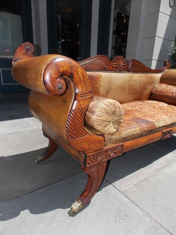 Hand-Carved Caribbean Regency Mahogany Floral Carved Leather Sofa, Circa 1810 For Sale