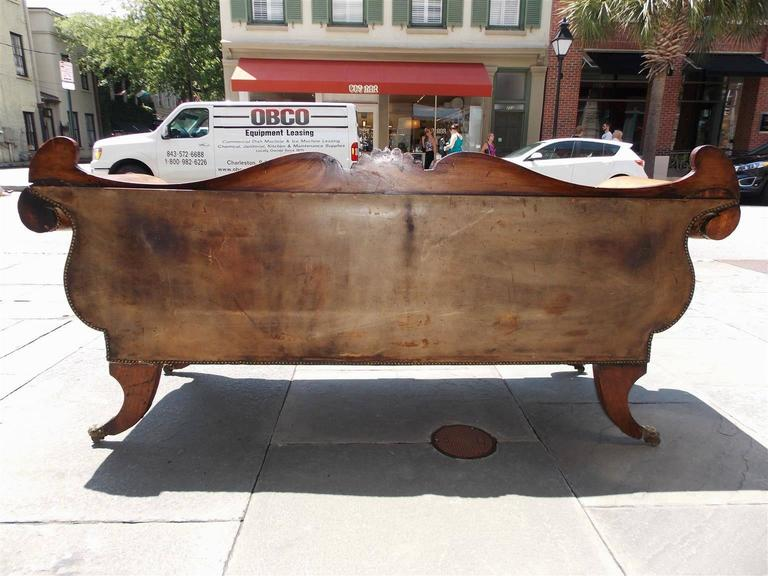 Caribbean Regency Mahogany Floral Carved Leather Sofa, Circa 1810 For Sale 4
