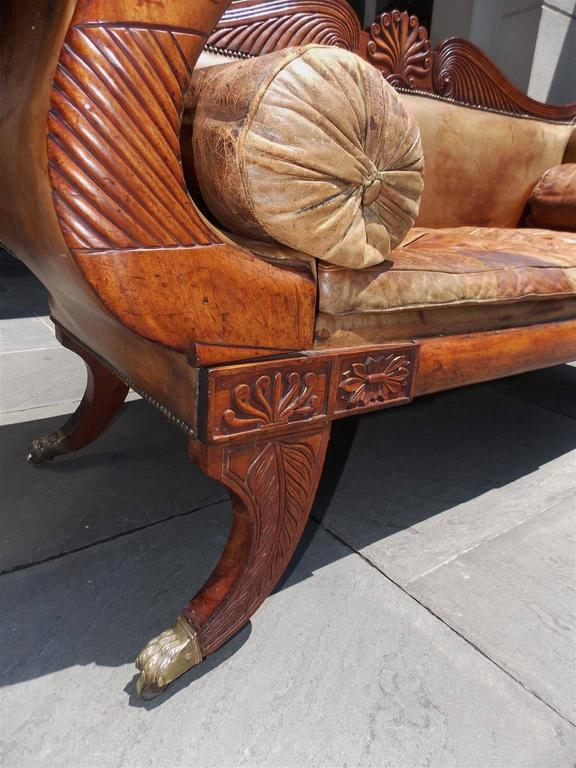 Caribbean Regency Mahogany Floral Carved Leather Sofa, Circa 1810 In Excellent Condition For Sale In Charleston, SC
