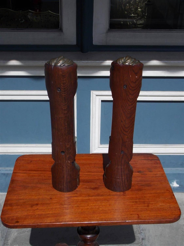 Pair Of English Brass And Oak Lion Door Stops Circa 1780