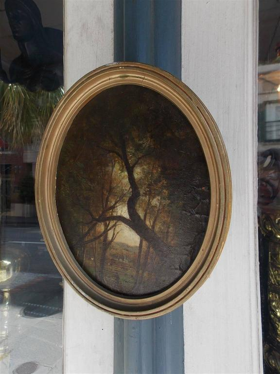 American Empire American Diminutive Oval Oil on Canvas Landscape, Circa 1870 For Sale