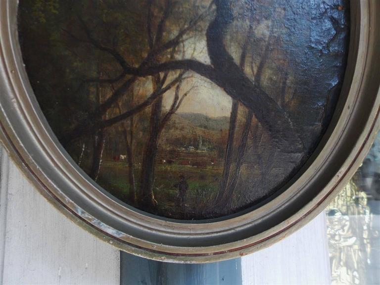 Hand-Carved American Diminutive Oval Oil on Canvas Landscape, Circa 1870 For Sale