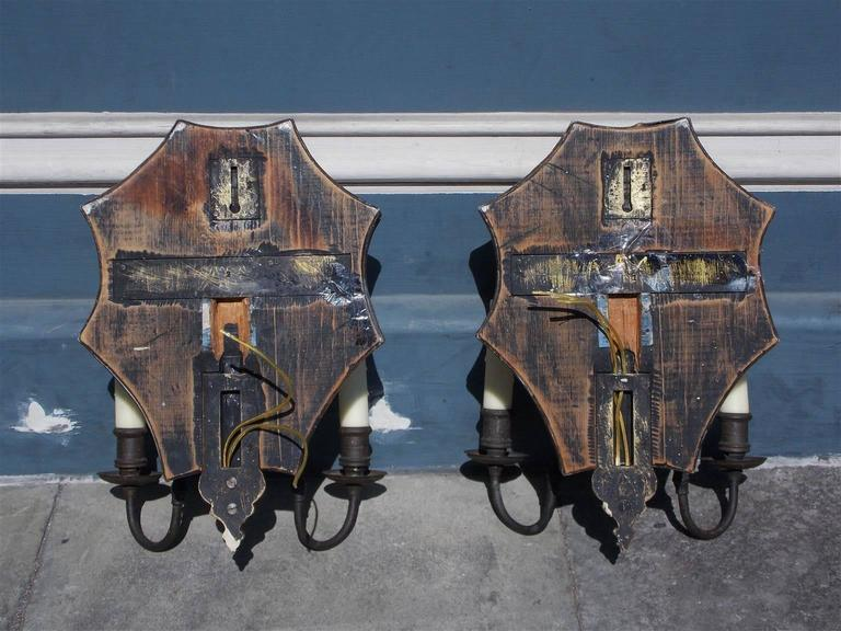 Pair of Venetian Bronze & Decorative Etched Mirrored Wall Sconces, C. 1800 For Sale 1