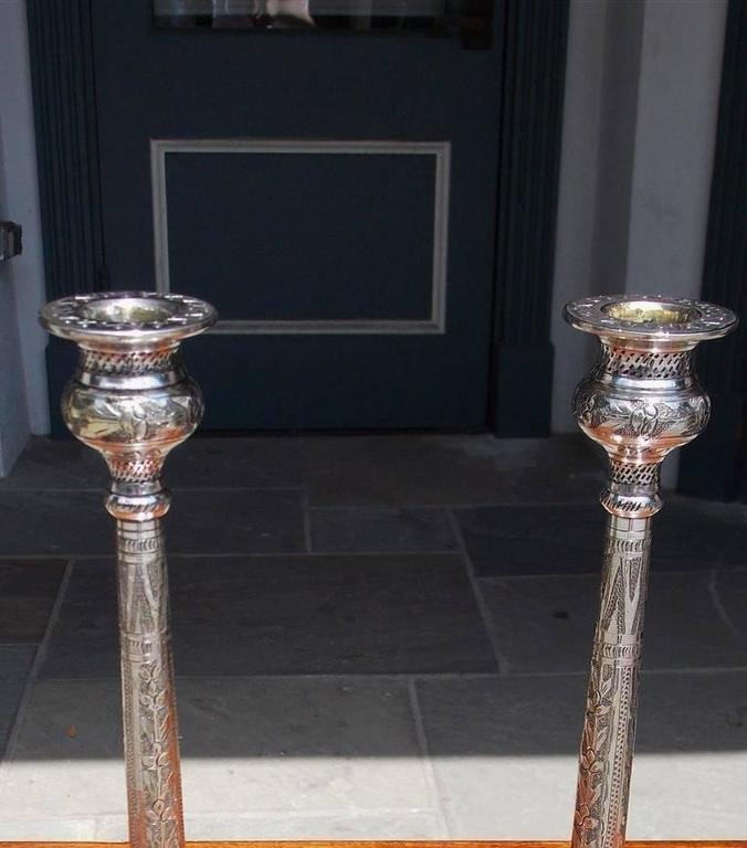 Cast Pair of English Hand Chased Floral Beaded Candlesticks, Circa 1790 For Sale