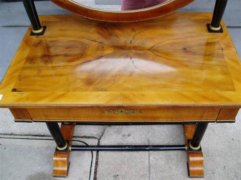 Biedermeier Viennese Flame Birch Veneer and Ebony Ormolu Dressing Table, Circa 1820 For Sale