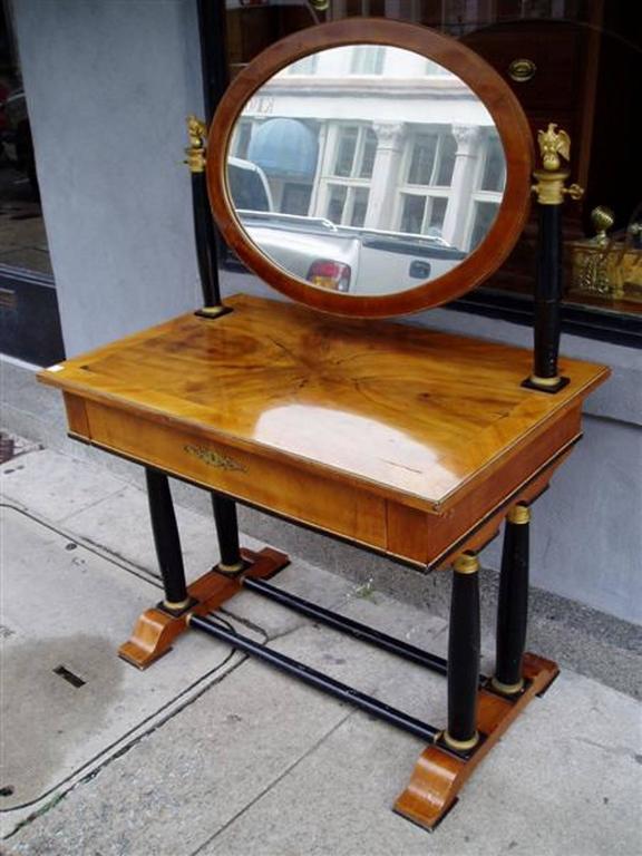 Austrian Viennese Flame Birch Veneer and Ebony Ormolu Dressing Table, Circa 1820 For Sale