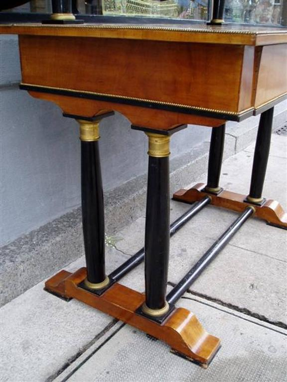 Cast Viennese Flame Birch Veneer and Ebony Ormolu Dressing Table, Circa 1820 For Sale