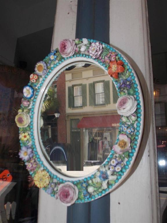 English Derby Porcelain Decorative Floral Oval Wall Mirror