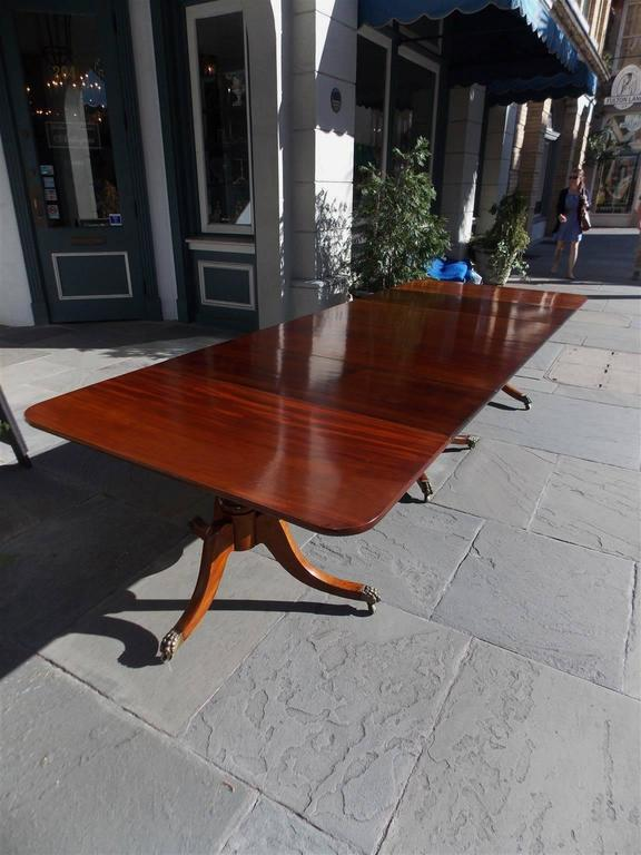 Cast English Mahogany George III Three Pedestal Dining Room Table, Circa 1810 For Sale