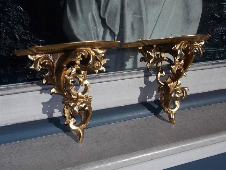 Pair Of Italian Gilt Carved Wood Floral Wall Brackets