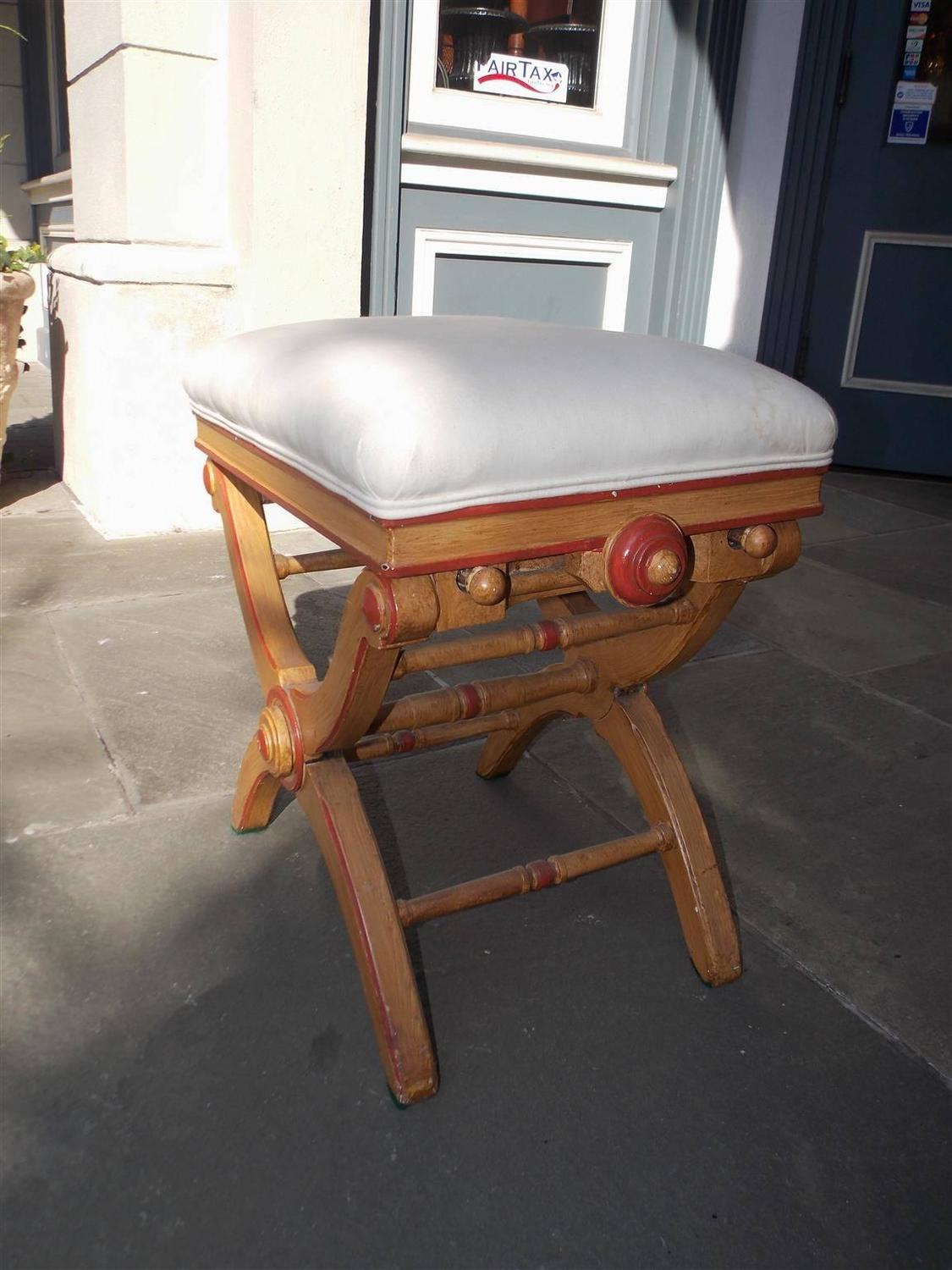 English Crule Painted And Upholstered Piano Bench Circa 1830 For Sale At 1stdibs