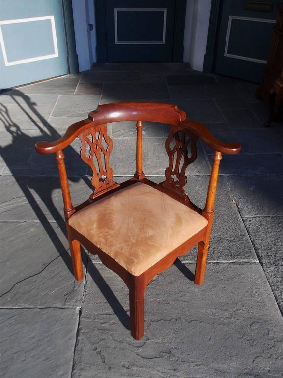 english chippendale mahogany upholstered corner chair circa 2