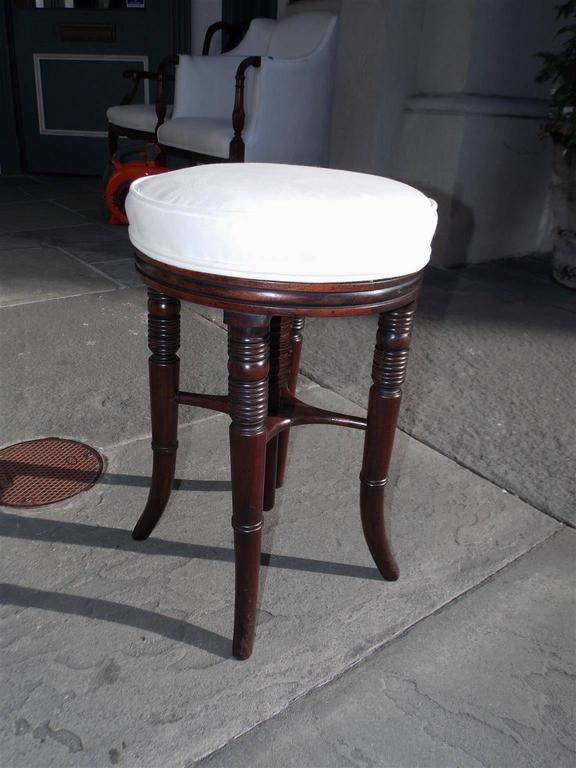 English Regency Mahogany Upholstered Piano Stool, Circa 1810 In Excellent Condition For Sale In Charleston, SC