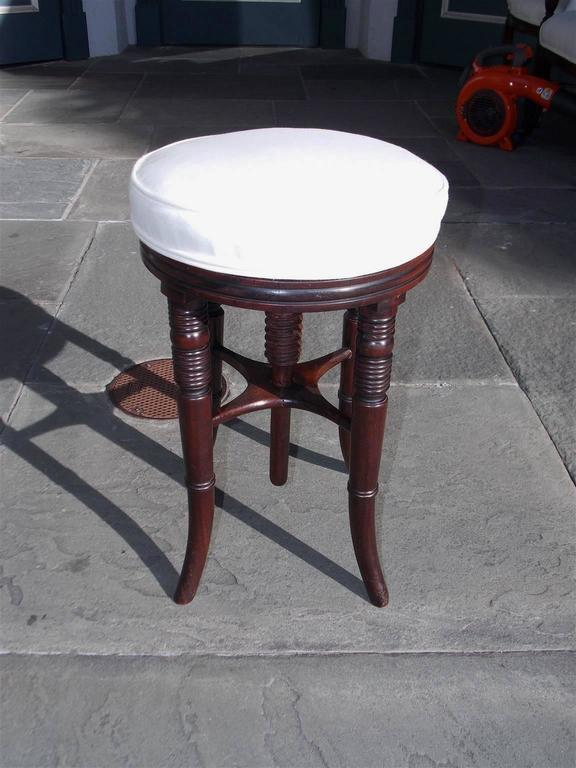 Hand-Carved English Regency Mahogany Upholstered Piano Stool, Circa 1810 For Sale