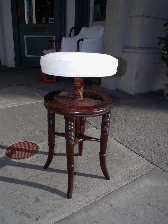 Upholstery English Regency Mahogany Upholstered Piano Stool, Circa 1810 For Sale